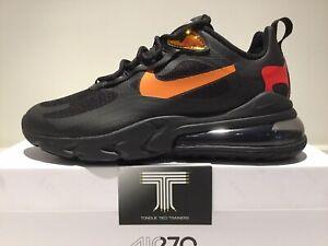 """Nike Air Max 270 React """"Black/Magma Orange"""" ~ CV1641 001 ~ Uk Size 8~ Euro 42.5"""