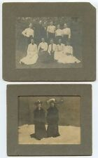 2 ANTIQUE PHOTOS-11 PEOPLE OUTDOORS   2 LADIES W/ GREAT HATS/LONG COATS IN SNOW
