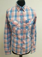 EE181 WOMANS SUPERDRY PINK BLUE WHITE CHECK L/SLEEVE COLLAR SHIRT UK S