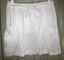 Sunny Girl 12 Soft White Rayon Tie Waist Pocket Front A Line Pleat Skirt