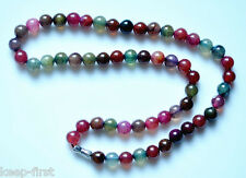 Chinese Handmade Pretty 8mm Natural multicolor Jade Beads Necklace 18''