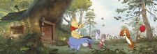 Wallpaper for children's bedroom panoramic wall mural Winnie Poohs house green