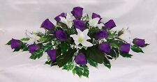 artificial wedding flowers top table decoration purple roses & ivory liys