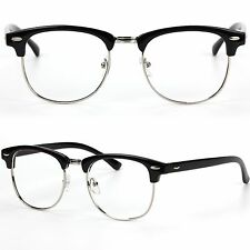 Half Frame Clubmaster Style No Lens Fashion Glasses Prescription Frames