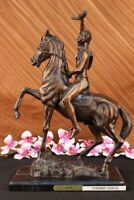 Bronze Federic Remington THE SCALP Statue on Marble Base Sioux Warrior Sculpture