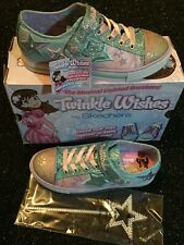 2.5 Girls Skechers Twinkle Wishes Trainers  Glitter Velcro. Laces Shoes Boxed