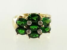 14k Yellow Gold Green Stone and Diamond Ladies Ring Size 7.25
