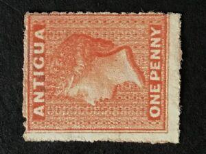 Antigua Q. Victoria 1867 1d vermilion unused/no gum SG 7b. (Cat £250 as mint)