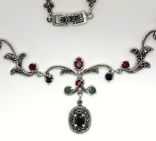 Necklace Sapphire Emeralds Ruby & Marcasite 925 Sterling Silver 50 Cm