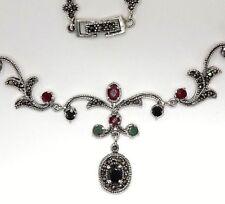 Collier Saphir Smaragde  Rubine & Markasit   925 Sterling Silber