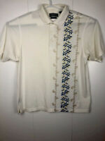 Vintage Mens white Munsingwear Grand Slam penguin Hawai theme Golf Polo Shirt Bu