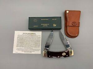 MOORE MAKER KNIFE NEW/BOX 5214 UDLB BIG LOCKBACK, RARE WINE RED BONE WITH SHEATH