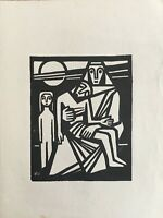 Lithografie Monogramm 1965 Midcentury Art Mutter mit Kindern Figuren Personen