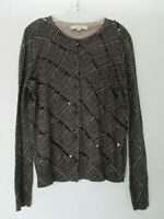 Ann Taylor LOFT Women's Size Large Cotton Long Sleeve Cardigan Sweater Sequins