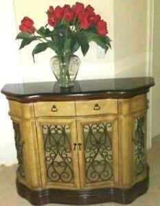 Stein World Furniture Canterbury Granite Top Credenza Wrought Iron Scroll Doors