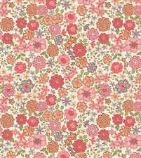 RED & ORANGE BLOOMS ON WHITE BY LEWIS & IRENE - COTTON FABRIC FQ
