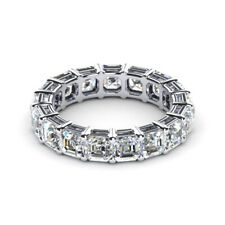 3.40 Carat Asscher Moissanite Wedding Eternity Bands 14K White Gold Size 5.5 7 8