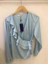 2ND Day 2ND Haly Long Sleeve Wrap Blousr In Aquamarine Blue Sizr 10