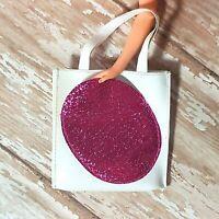 Vintage Barbie / Clone White Vinyl Tote Bag Large Glitter Purple Front Pocket