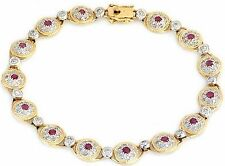 1.40ctw Diamond & Ruby Bracelet Solid Yellow Gold