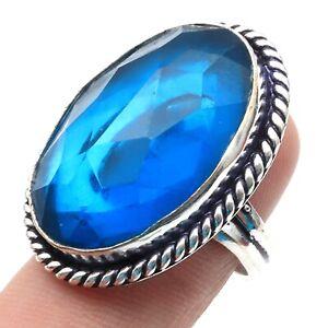 Blue Quartz Sterling Slver Plaed Ring Size US 7.5 Gemstone Jewellery T3201