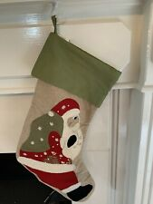 Pottery Barn Christmas SANTA WITH BAG Crewel Embroidered Stocking NO Monogram