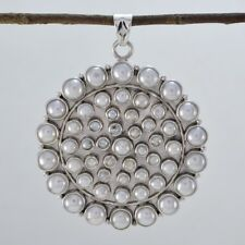 White 925 Sterling Silver Natural fine-looking Pearl jaipur Pendant AU gift