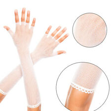 Sheer White Bridal Fishnet Fingerless Elbow Length Gloves Punk Gothic Arm Warmer
