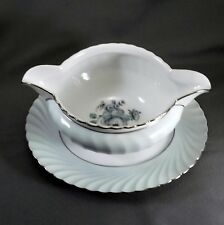 Royal Tettau Dawn Rose Gravy Boat Celedon Green Roses Platinum Trim 7.25""