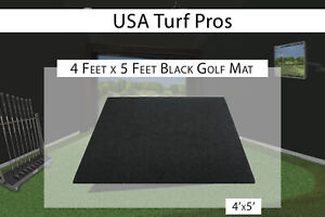 4 x 5 Black Commercial Nylon Pro Golf Turf Mat Chipping Driving Range Practice