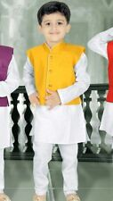 5 Age Size Boys Kurtha Indian Costume Sherwani Bollywood Party Suit Yellow D4 -5