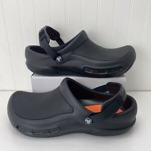 Men's Crocs Bistro Pro Clog Kitchen Non Slip Shoes Size 14 Black & Orange EUC