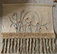 Vintage 70s Floral Fiber Art Textile Wall Hanging Tapestry Mid Century Modern