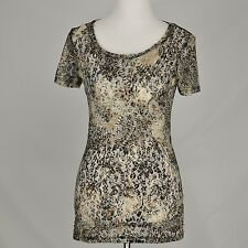 BKE The Buckle NEW Lace Stretch Knit Top Sheer Light Short Sleeve Shirt Size M