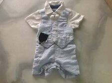 Andy & Evan Seersucker Boys Outfit Vest Shorts Shirt Wedding Beach 3-6m