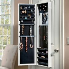 Over The Door Jewelry Armoire Mirror Wall Mount Full Length Hanging Storage Box