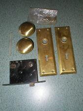 Vintage Door Knob Mortise Lock Handle Set Back Face Plate Screws Hardware
