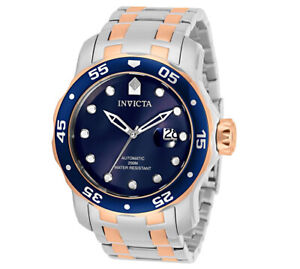 INVICTA AUTOMATIC Blue Dial 48mm Rose Gold & Silver w/Magnified Date Watch 33342