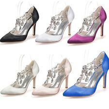 Ladies Women Satin Crystal Wedding Bridal Heels Formal Party Prom Shoes Size 3-8