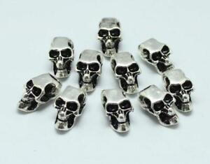10PCs Tibetan Carved Silver Metal Dreadlock Beads dread skull beads 6mm hole