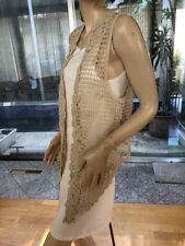 Lim's Vintage Intricate Delicate Hand Crochet Asymmetry Vest, Natural One Size