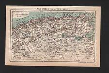 Landkarte map 1901: ALGERIEN und TUNESIEN. Mittelmeer Africa Afrika