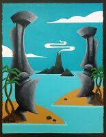 Clee Sobieski Painting Hawaiian Polynesian Seaside Tiki Bar Moai Easter Island