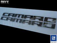 GM LICENSED, BLACK ONYX CAMARO FENDER SCRIPTS LETTERS MIRROR STAINLESS STEEL