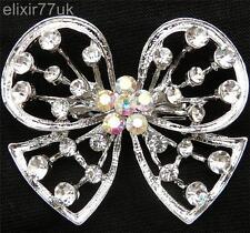 Arco De Plata Mariposa Broche cristal de Estrás abordar Boda Ramo Zapato Pastel