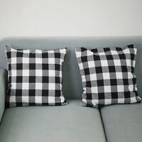Christmas Black And Red Checkered Pillow Case Cushion Cover Sofa Home Decor