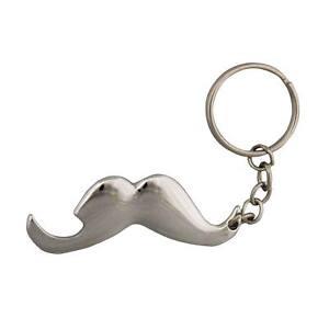 Mustache Bottle Opener Keychain Silver