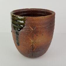 "Mid Century Ikebana Vase Pottery Kabin Japan Modernist Drip Glaze Vtg 7"""