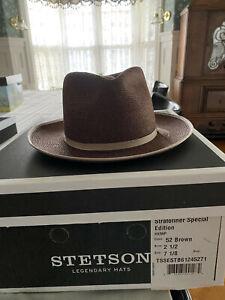 STETSON STRATOLINER SPECIAL EDITION HEMP BRAID FEDORA HAT 7 1/8 BROWN