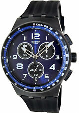Swatch NITESPEED Chronograph Blue Dial Black Rubber Band Watch SUSB402